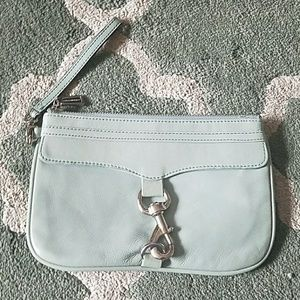 REBECCA MINKOFF Light Blue Leather Wristlet